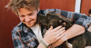 Man hugging American pit bull terrier puppy